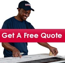 Pickfords packer and white text  saying Get a Free Quote